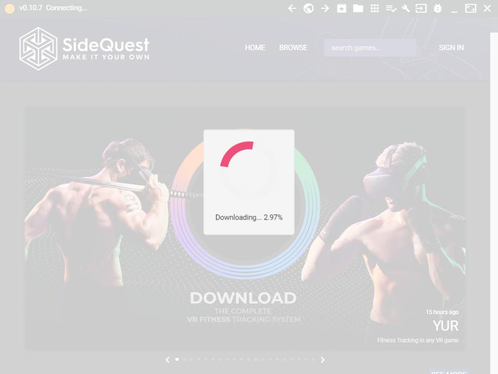 SideQuest初回起動画面